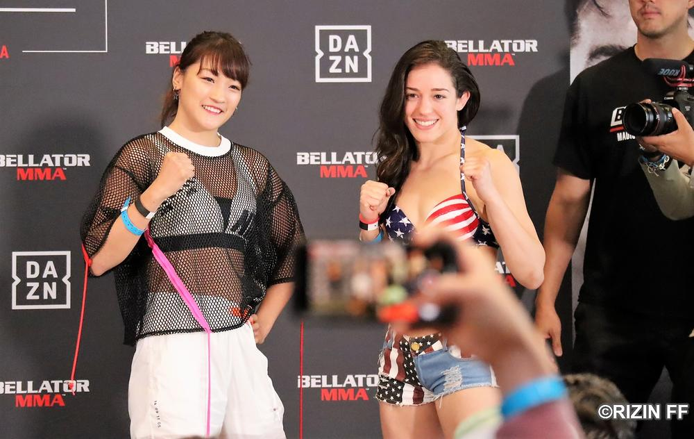 【Bellator】RENAが黒と白を使い分けて計量クリアー、星条旗水着のリンジーと初顔合わせ「イイ目をしていた」