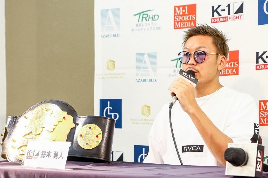 【K-1 KRUSH】左右田泰臣を退け初防衛に成功した鈴木勇人「KRUSHの絶対王者になりたい。本当に引退するまで持っててやろうと思ってます」